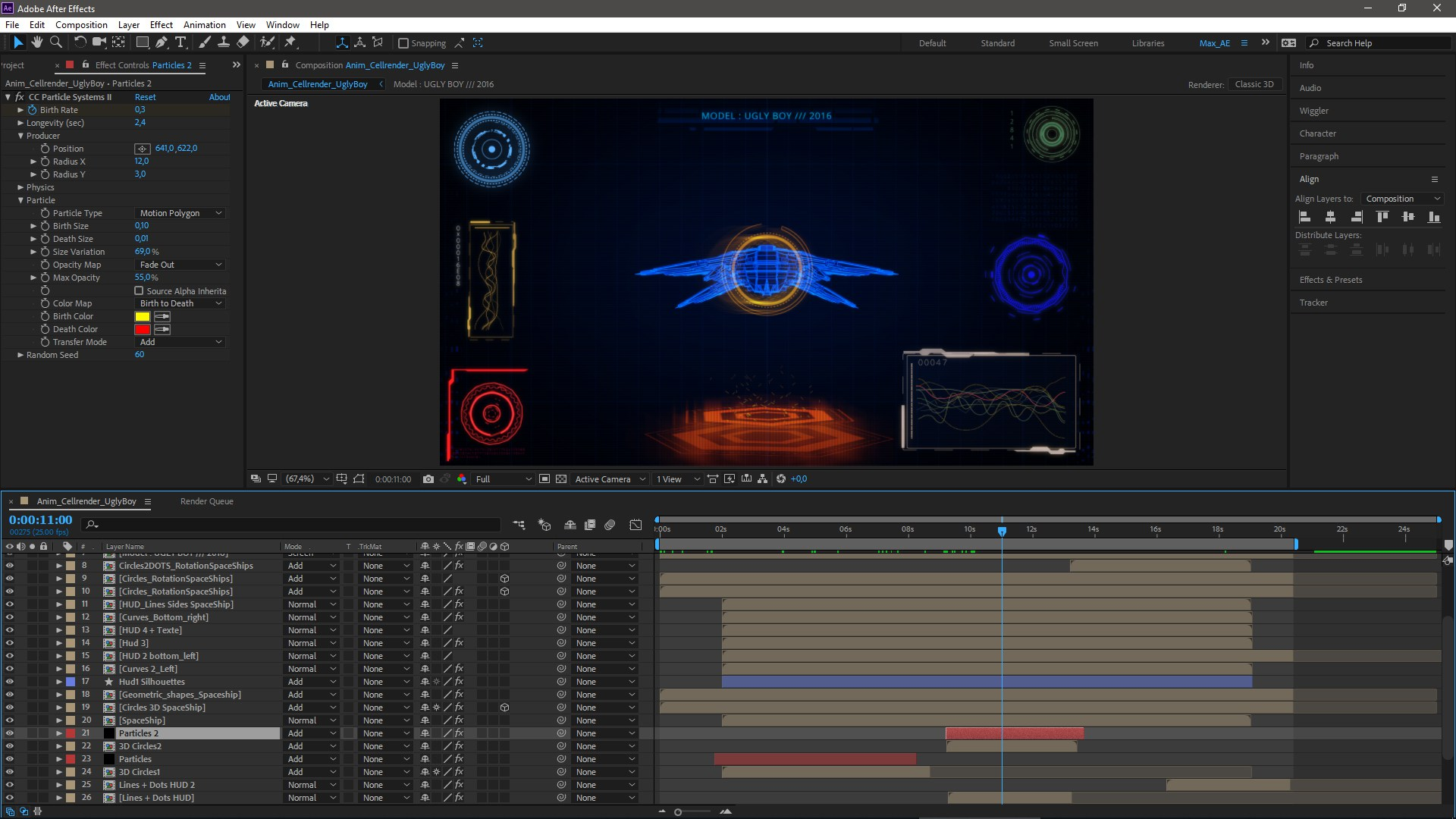 After Effects particle system & timeline