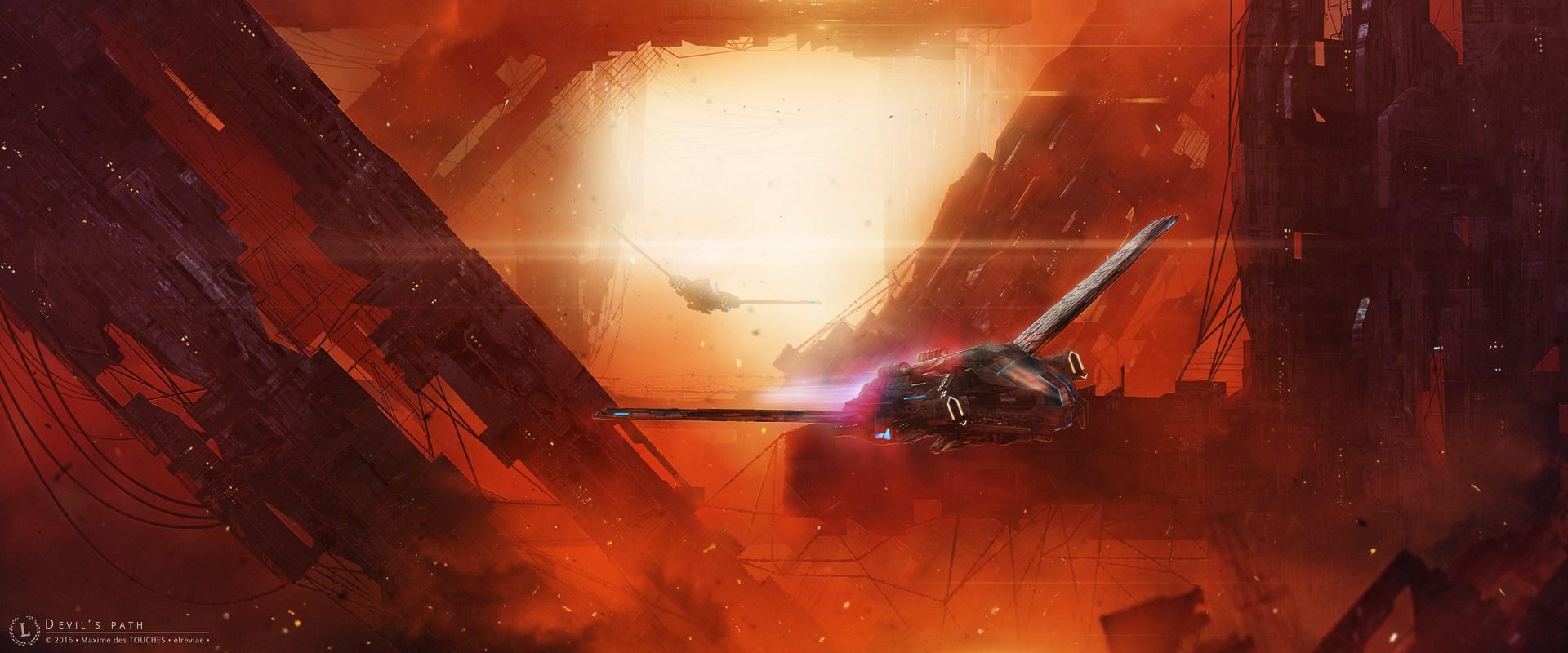 Devils Path spaceship concept Art Science fiction artworks