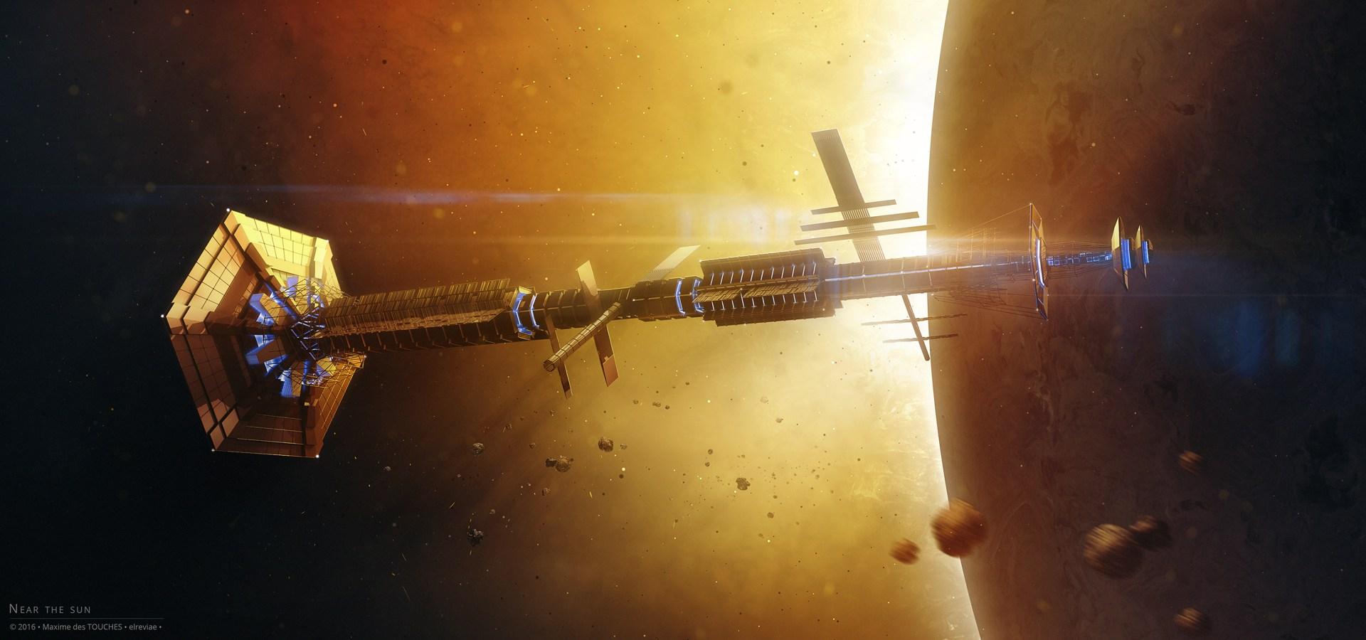Near the Sun space art Science fiction artworks