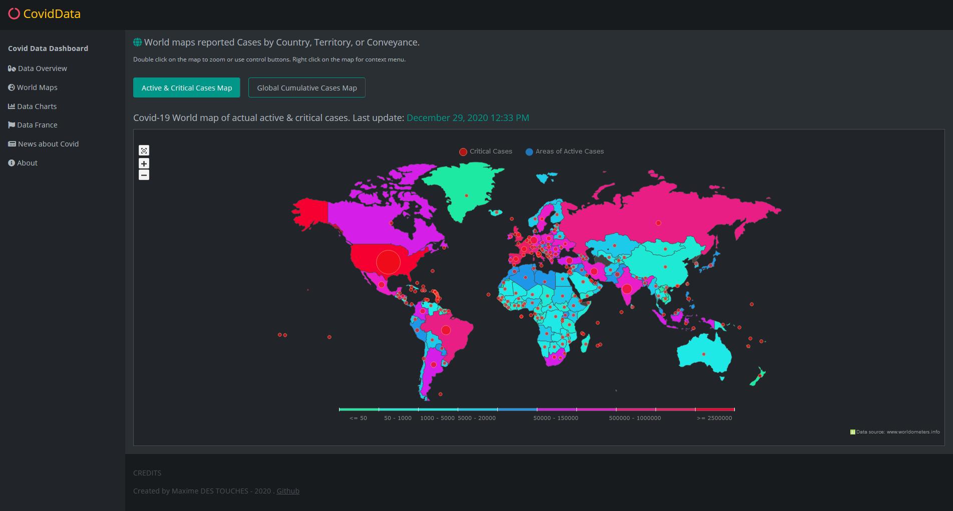 Data active world maps