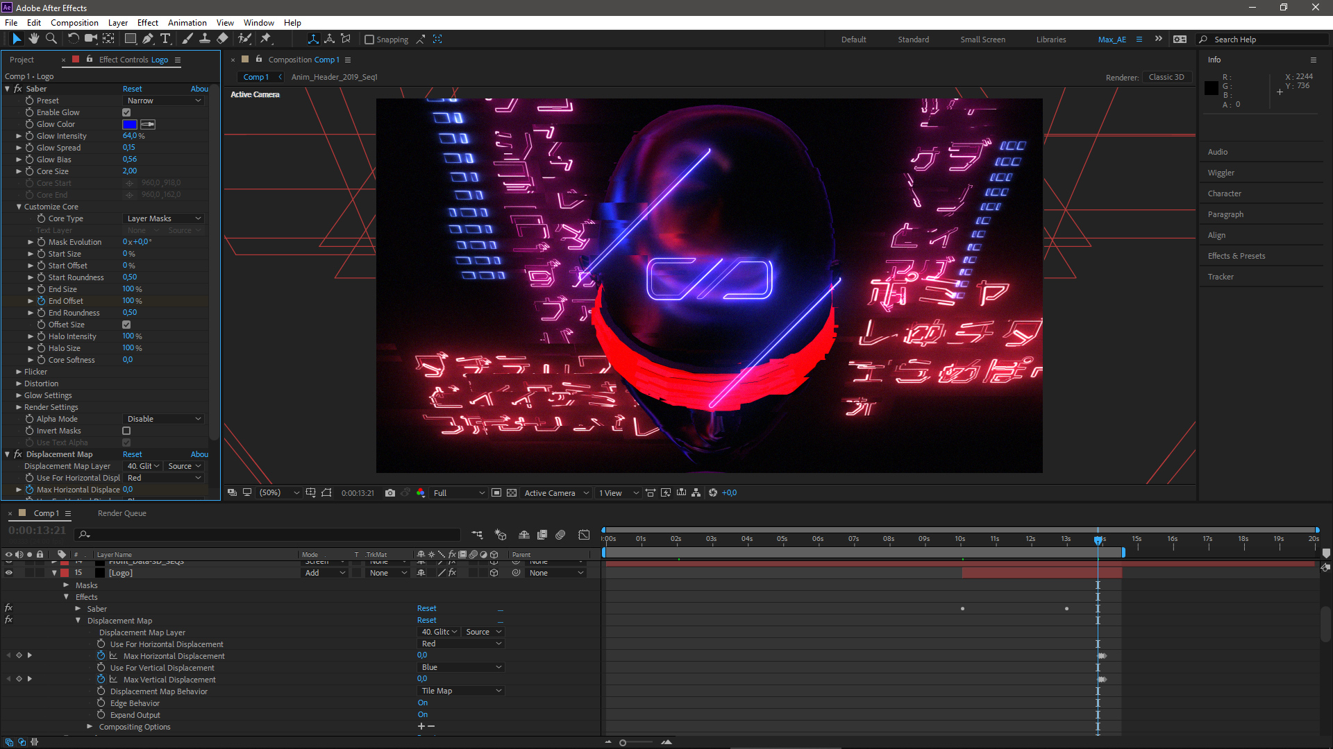 After effects Displacement map glitch