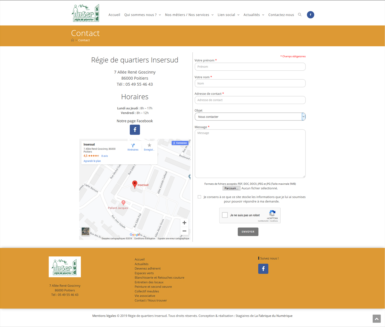 Contact page web insersud