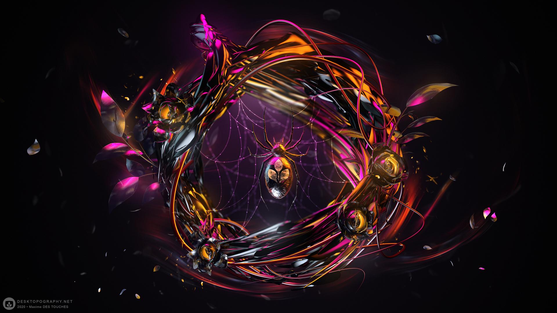 Digital art news,, Arachnida wallpaper Desktopography 2020. Maxime des Touches elreviae