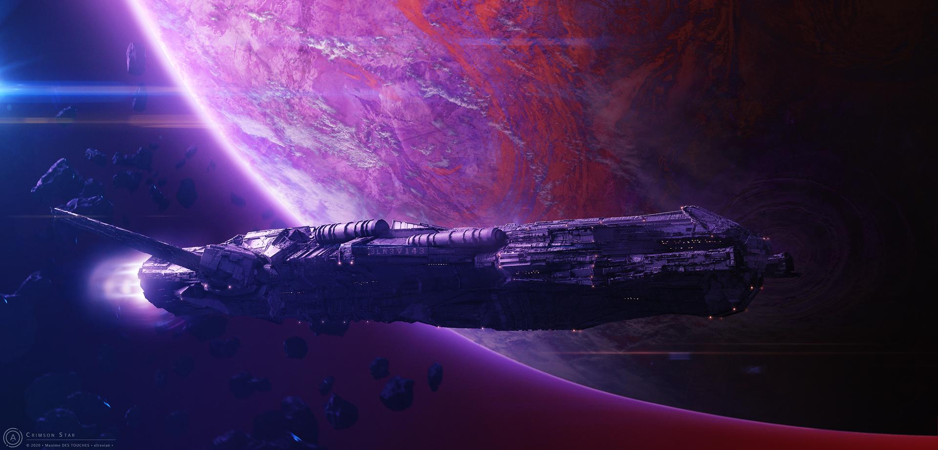 Crimson Star Science fiction artwork twitter elreviae